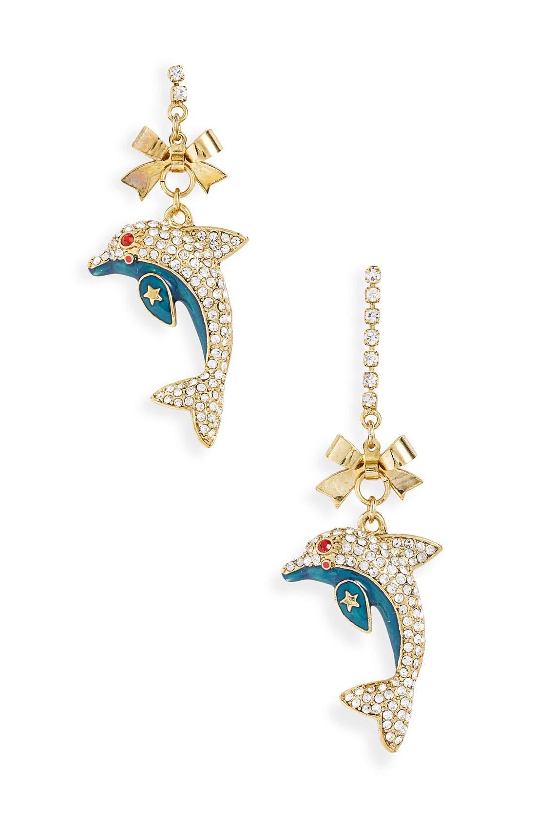 Alternate Image 1 Selected - Betsey Johnson 'Mermaid's Tale' Dolphin Drop Earrings