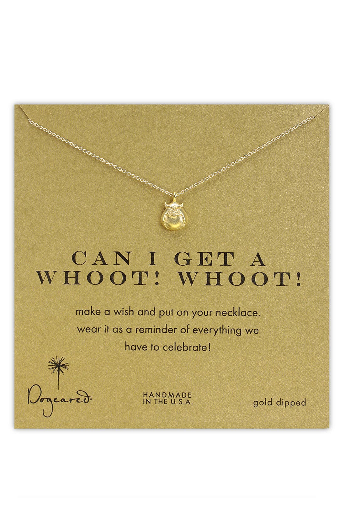 Main Image - Dogeared 'Whoot Whoot' Owl Pendant Necklace
