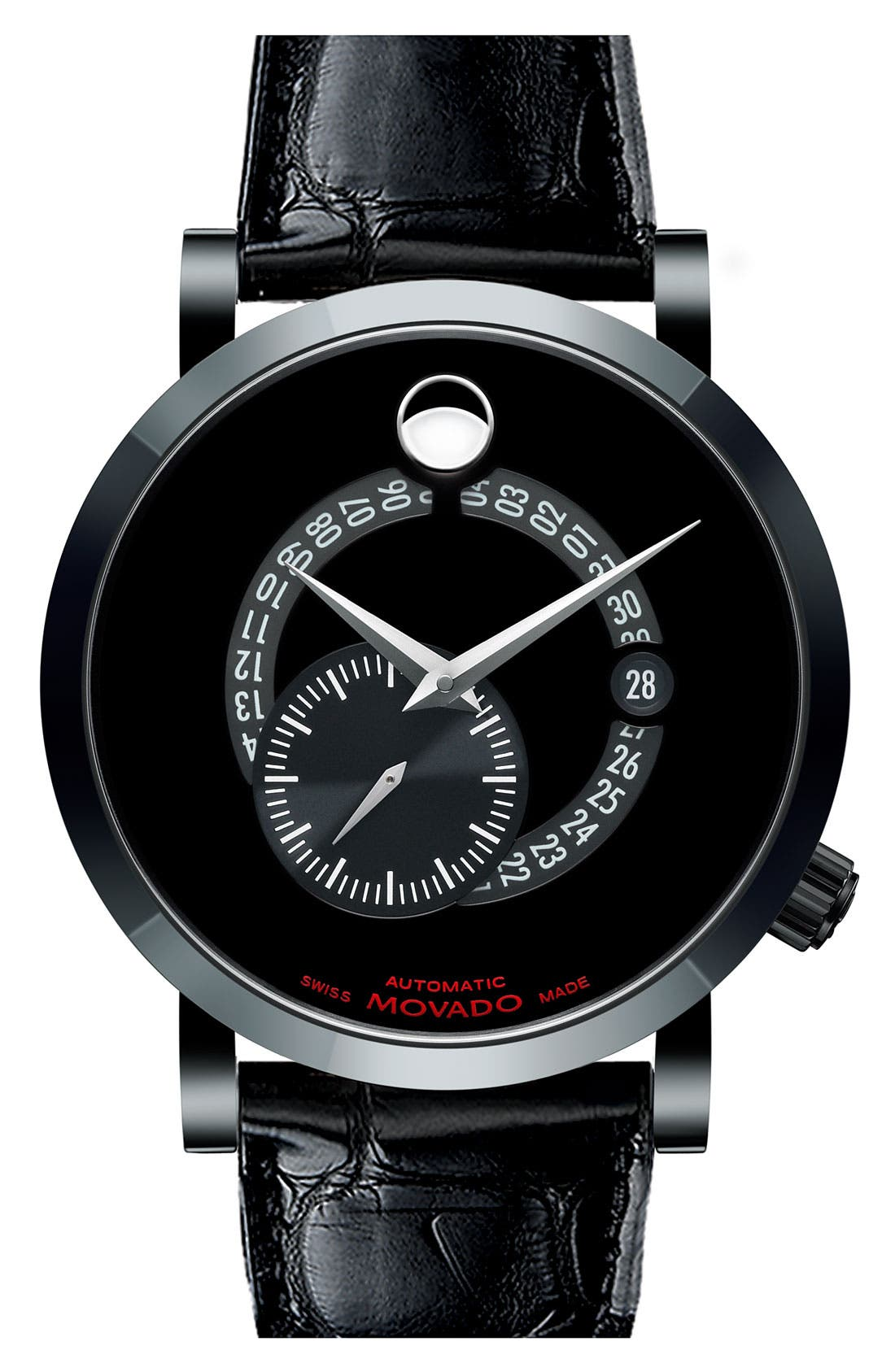 Alternate Image 1 Selected - Movado 'Red Label' Automatic Alligator Strap Watch