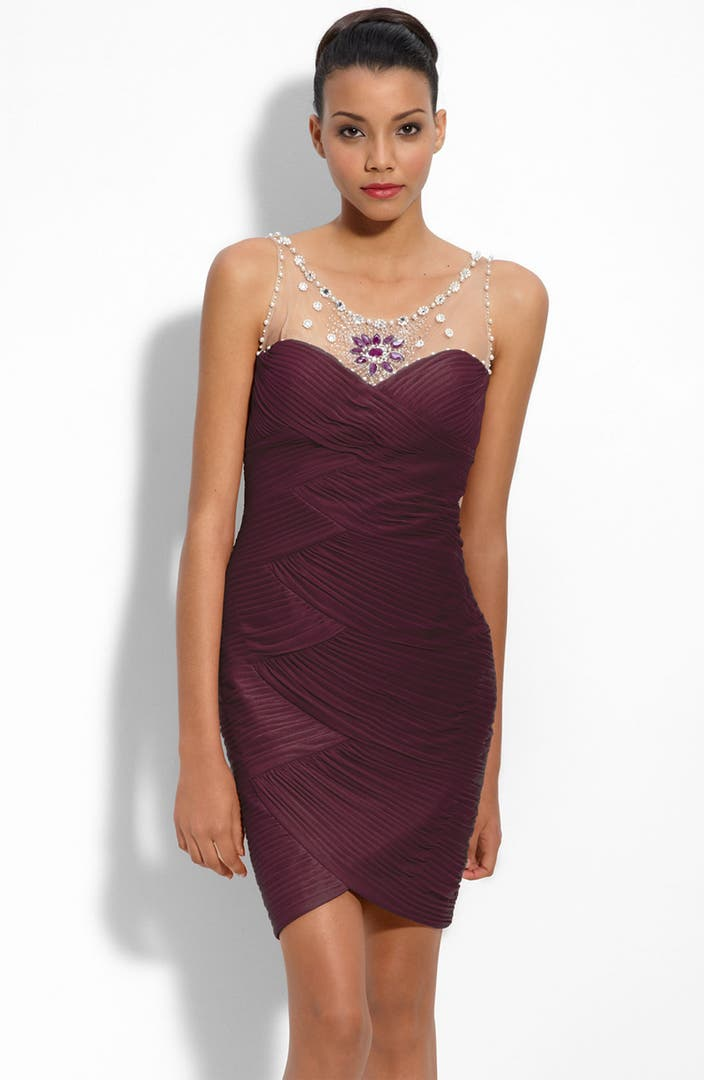 Adrianna Papell Sequin & Jersey One-shoulder Gown In Blue