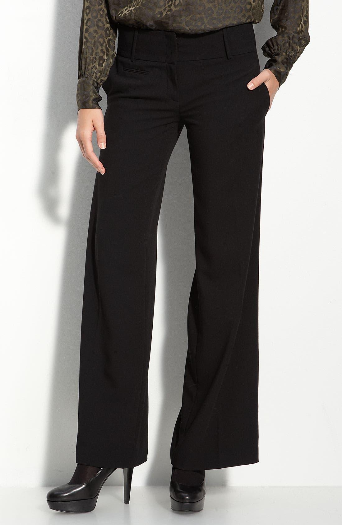 Wide Leg Trousers,                         Main,                         color, Black