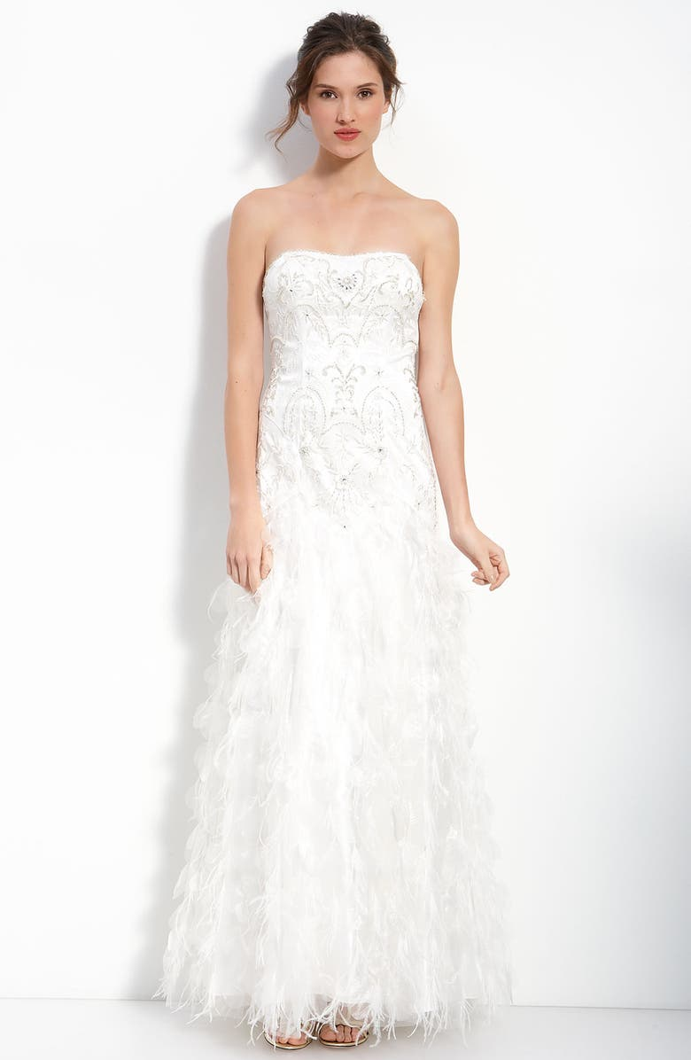 Beaded Embroidered Strapless Gown With Ostrich Feathers