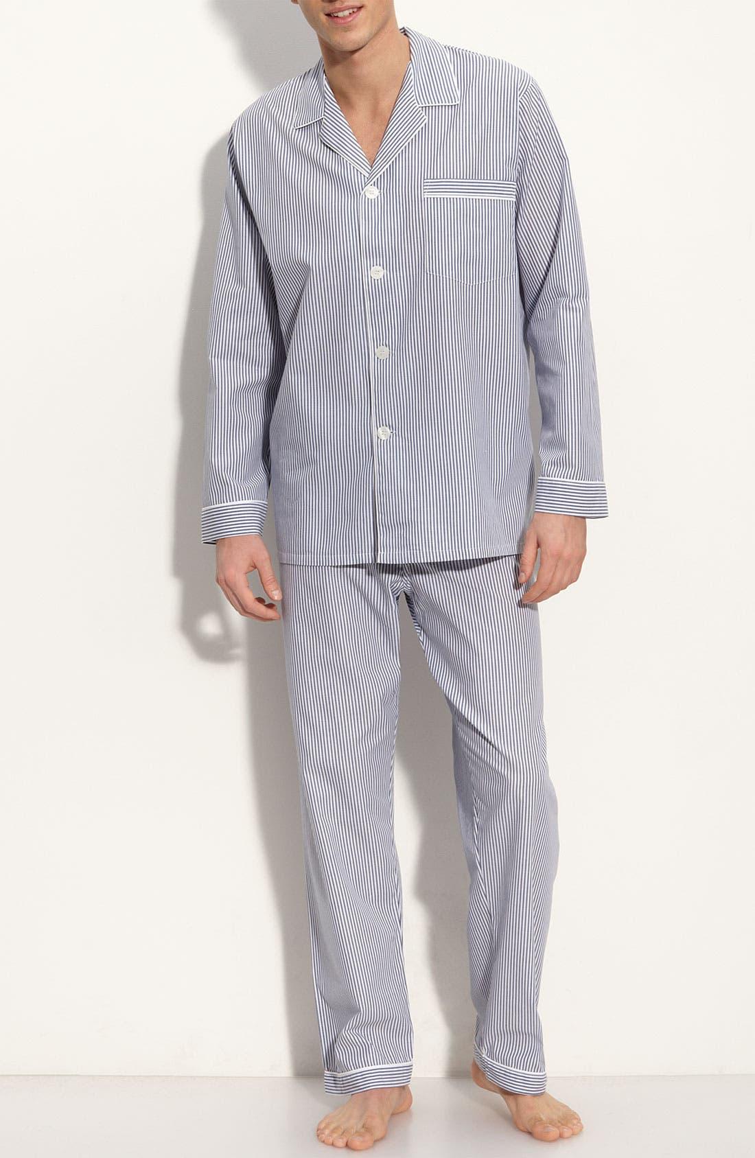 Cotton Pajamas,                         Main,                         color, Navy