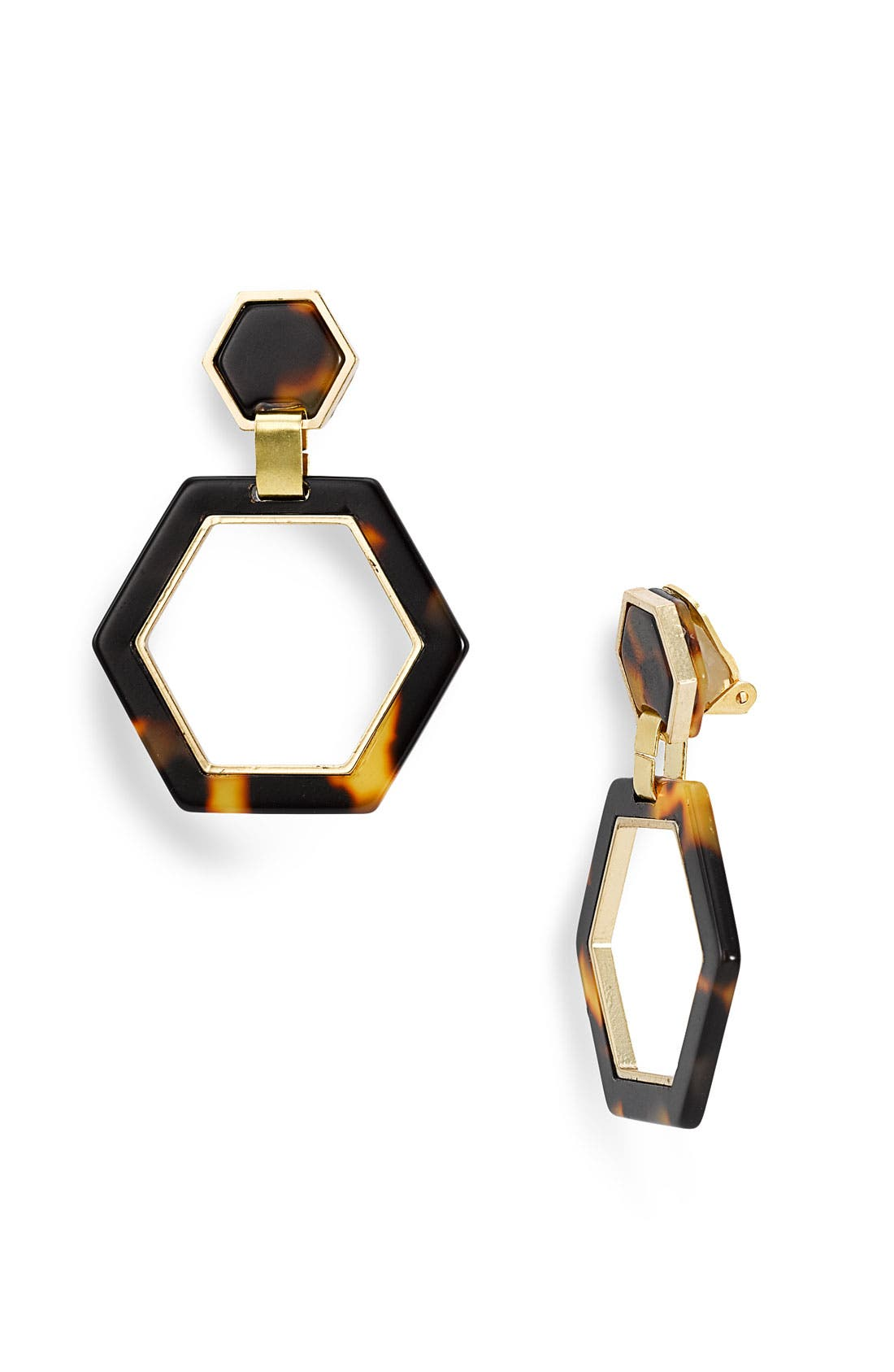Alternate Image 1 Selected - Tory Burch Hexagon Link Clip Earrings