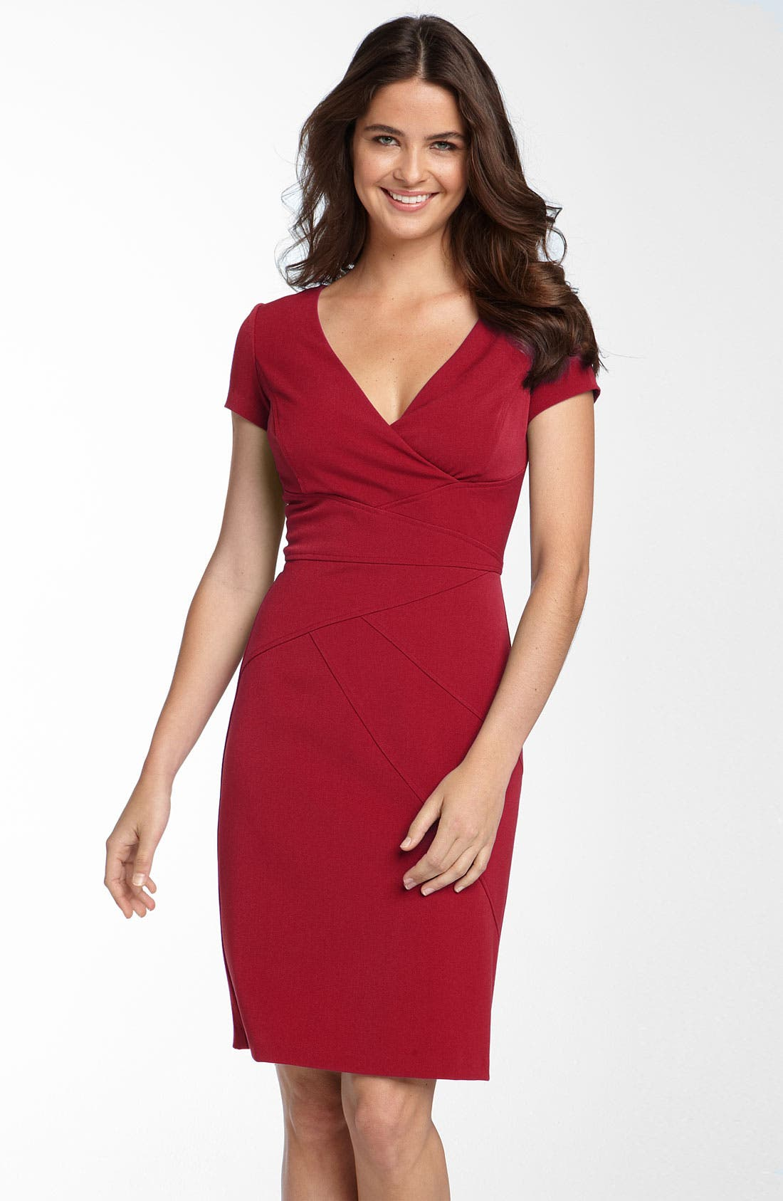 Alternate Image 1 Selected - Donna Ricco Seamed Stretch Twill Sheath Dress