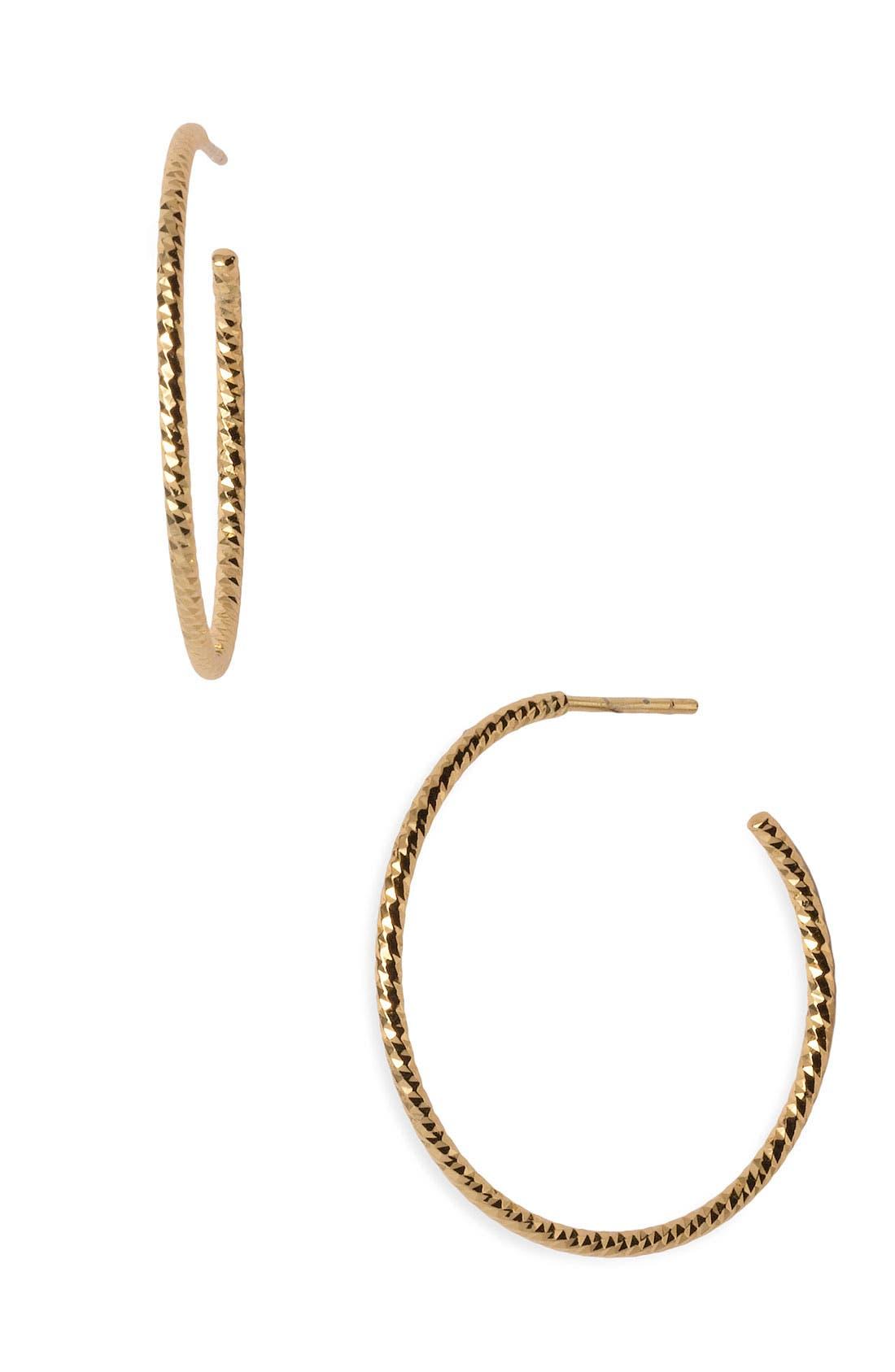 Textured Hoop Earrings,                         Main,                         color, Gold Vermeil