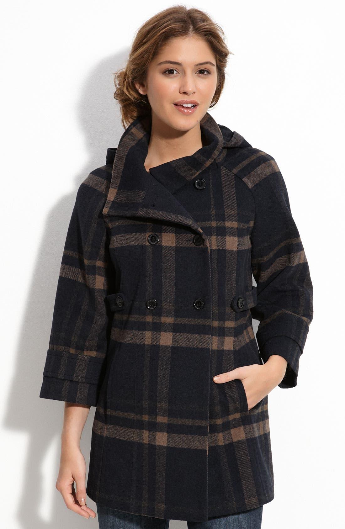 Main Image - Jou Jou Plaid Wool Coat (Juniors)