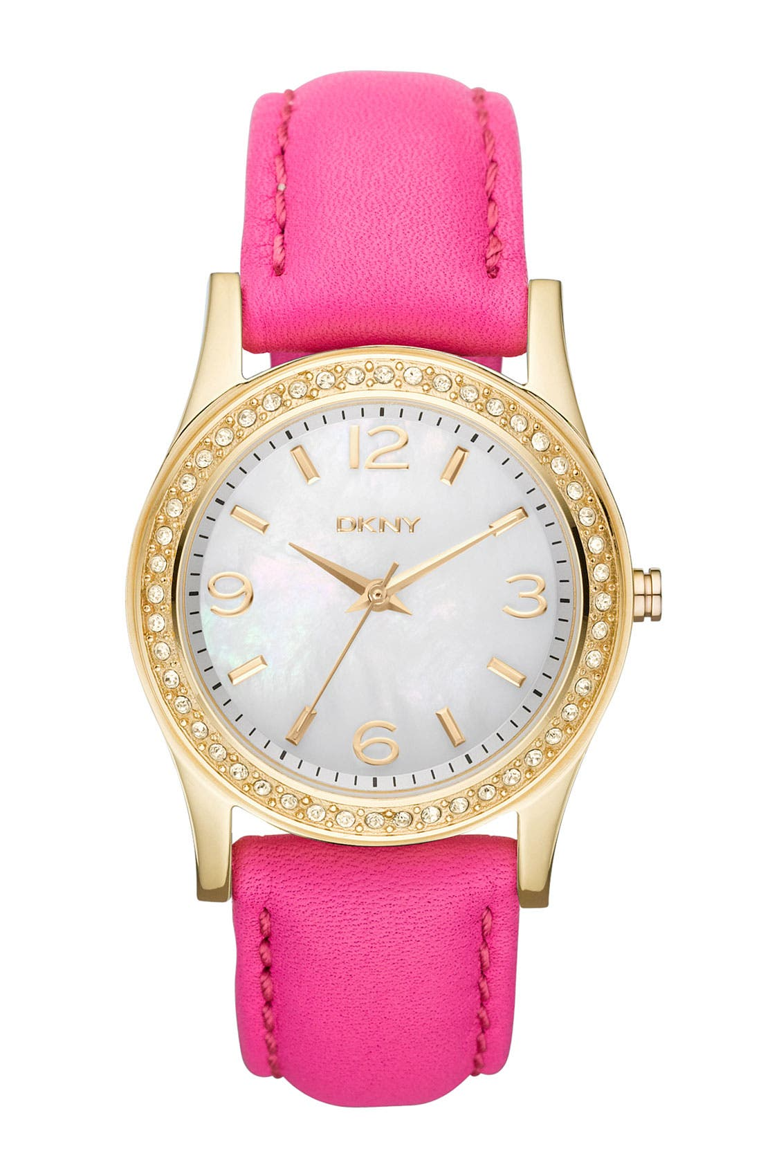 Alternate Image 1 Selected - DKNY Medium Leather Strap Round Watch