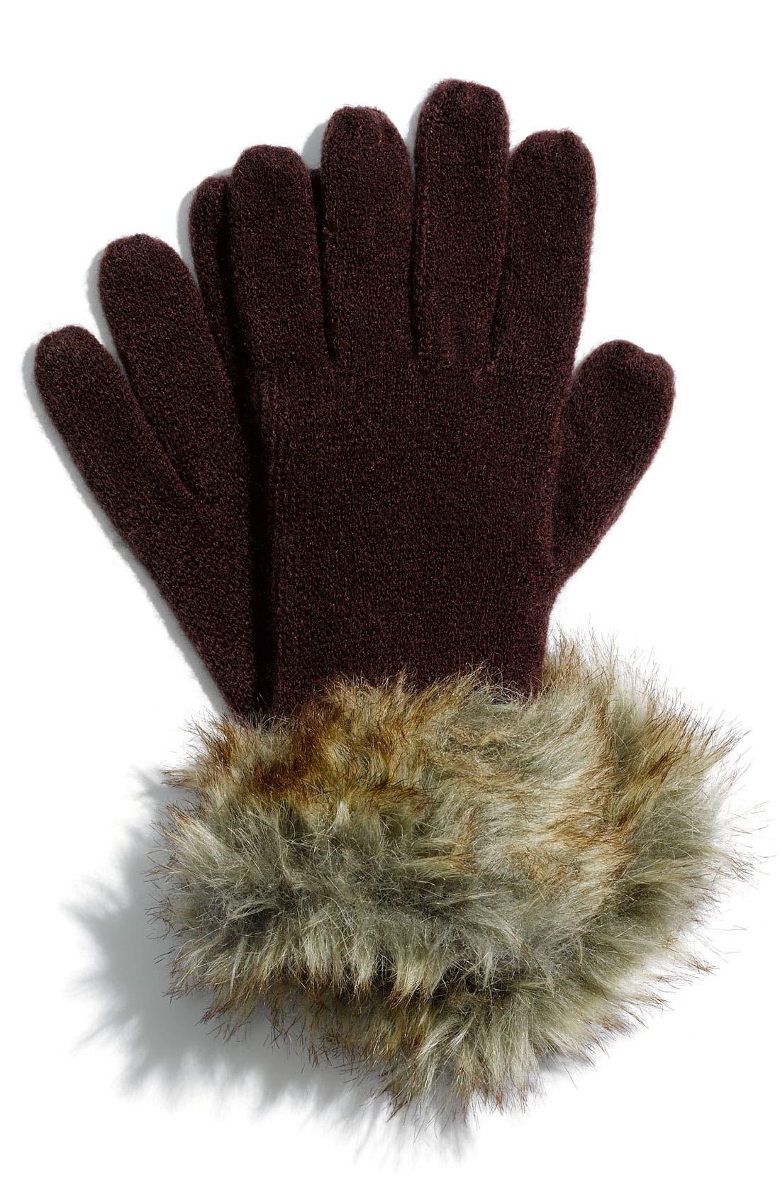 Main Image - The Accessory Collective Faux Fur Trimmed Knit Gloves