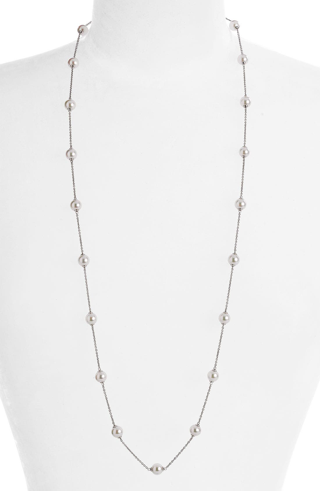 Main Image - Majorica 8mm Pearl Station Necklace