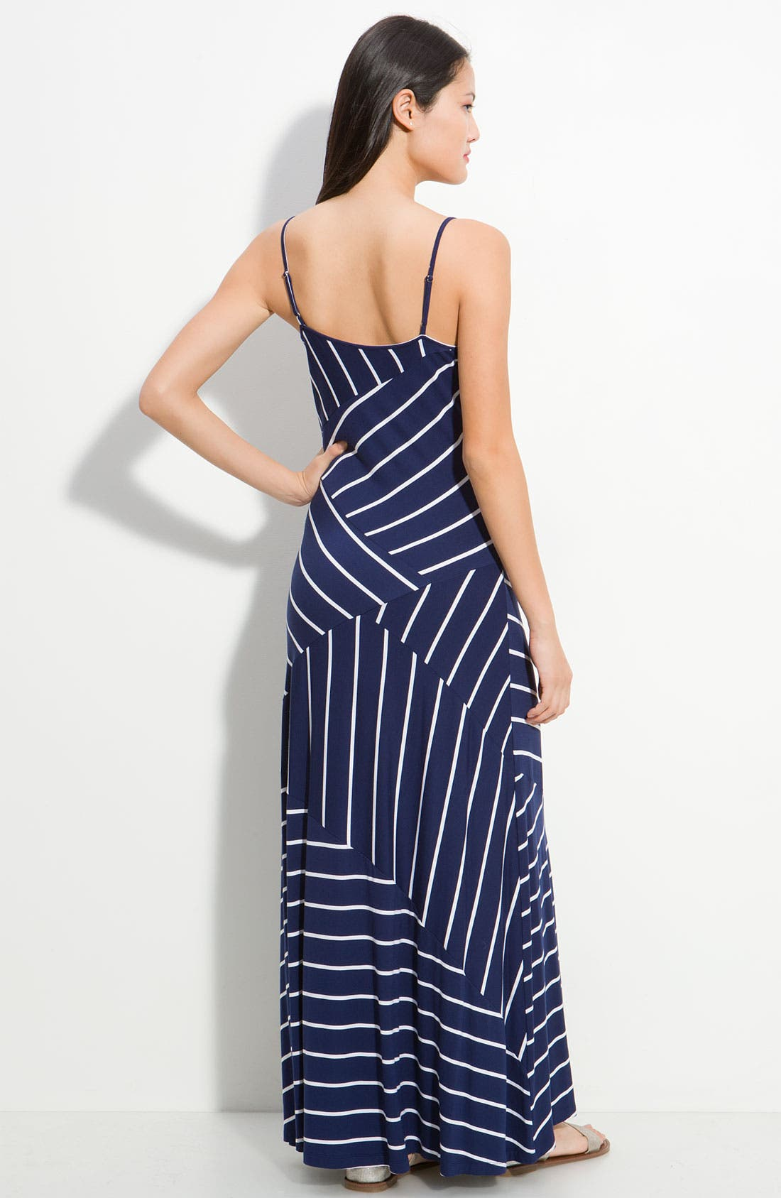 Alternate Image 2  - Calvin Klein Asymmetrical Stripe Maxi Dress
