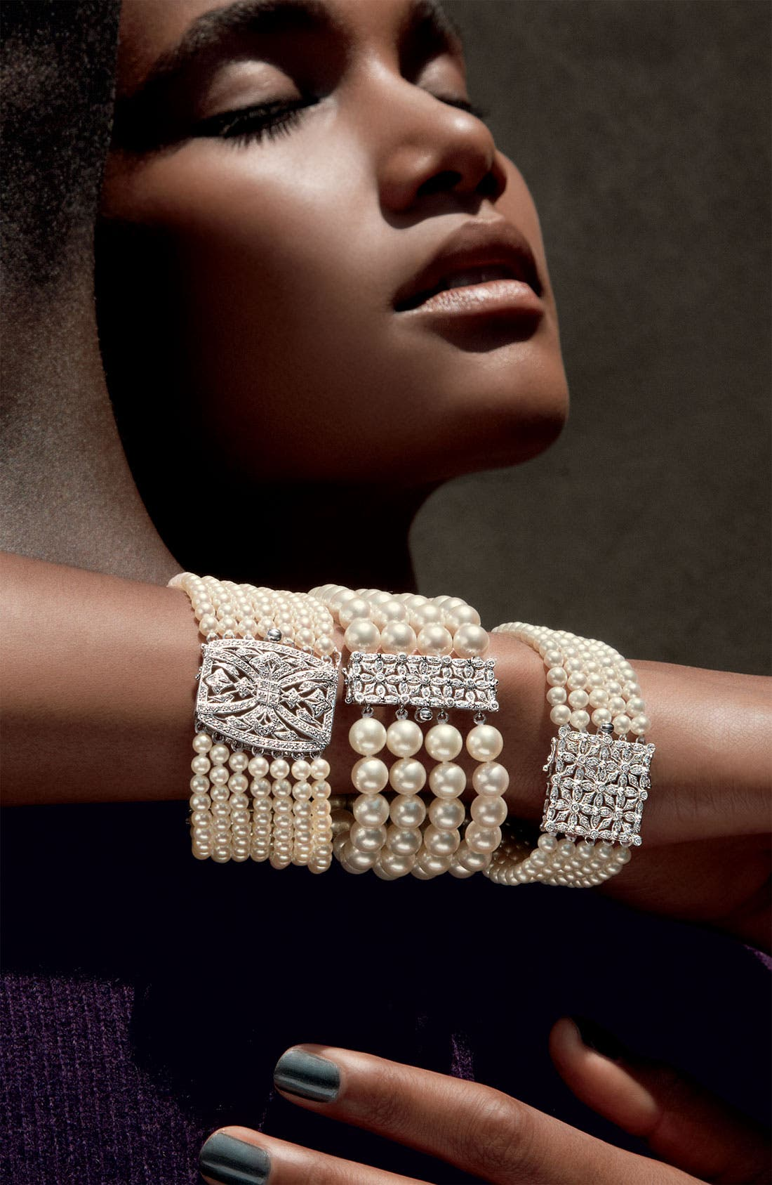 Alternate Image 2  - Mastoloni 7-Strand Pearl & Diamond Clasp Bracelet