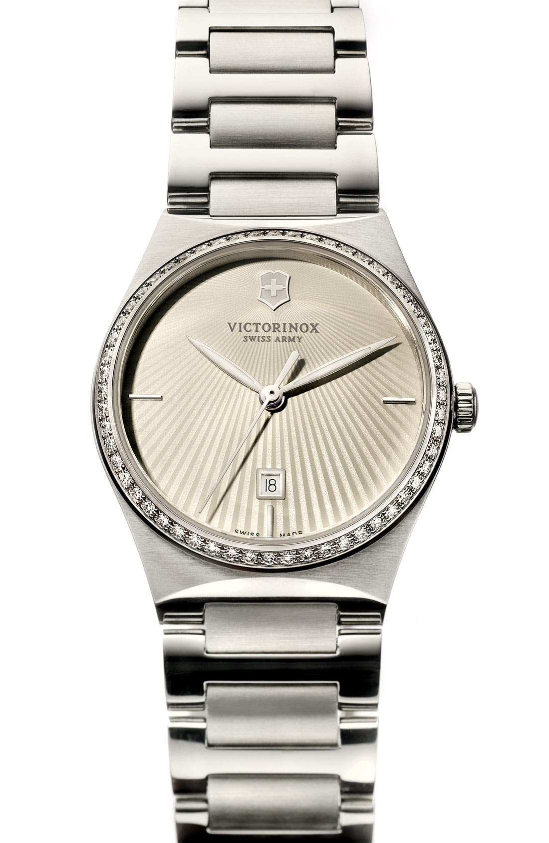 'Victoria' Diamond Bracelet Watch, 28mm,                             Alternate thumbnail 2, color,                             Silver