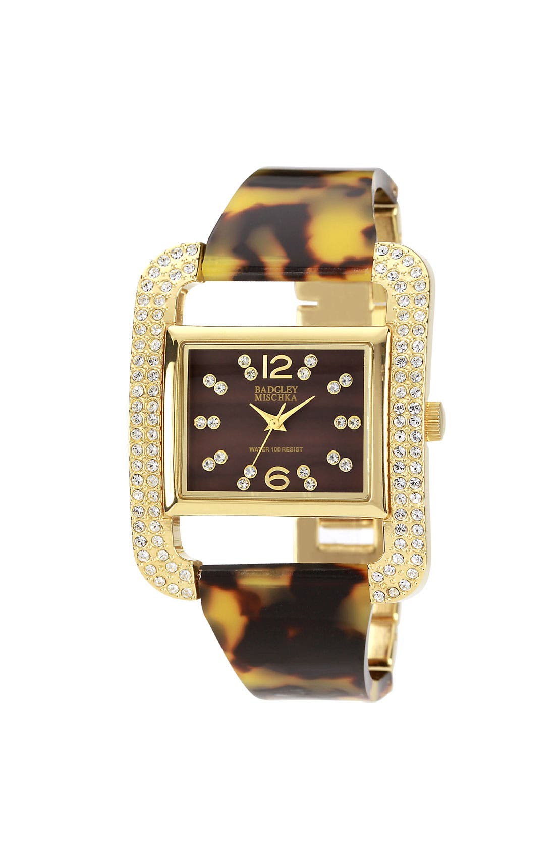 Alternate Image 1 Selected - Badgley Mischka Crystal & Mother-of-Pearl Bangle Watch