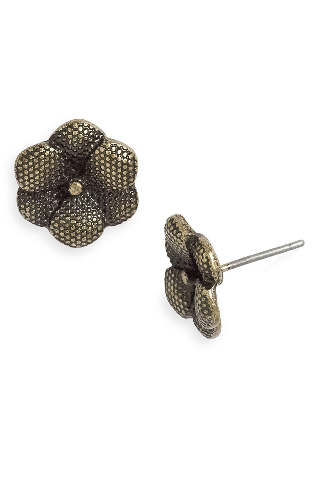 Main Image - Carole Textured Metal Flower Earrings