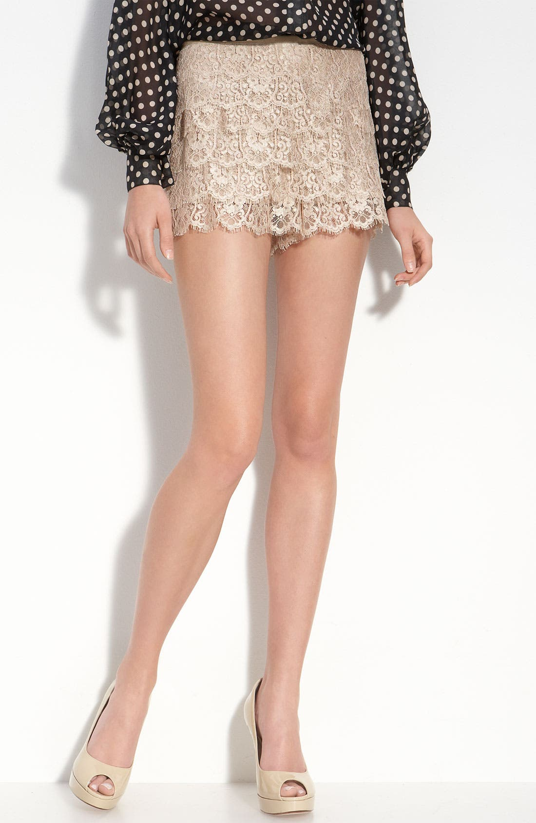 Main Image - Haute Hippie Tiered Lace Shorts