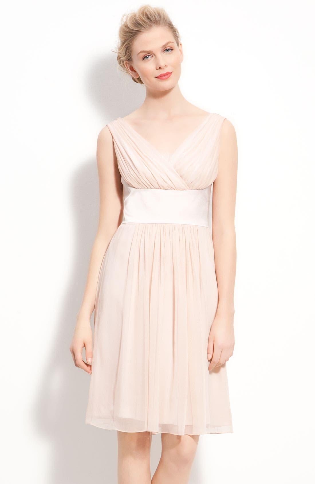 Main Image - Donna Morgan Satin & Pleated Chiffon Dress