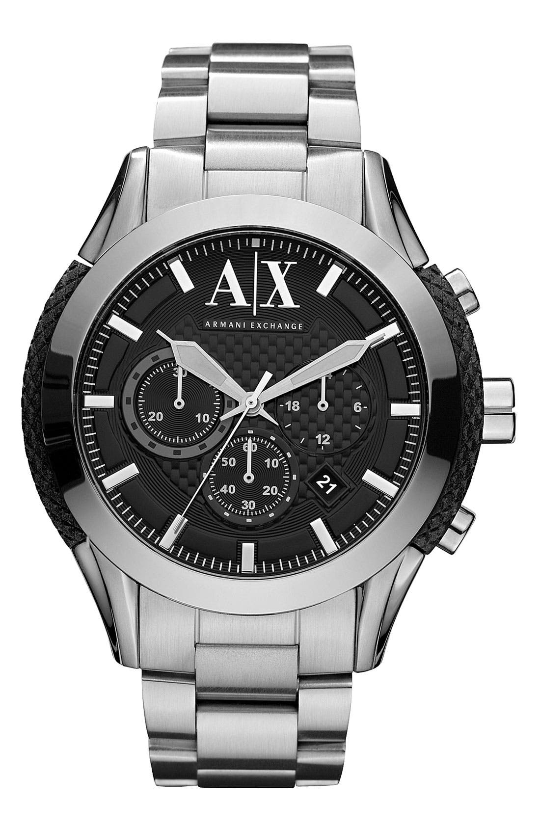 Alternate Image 1 Selected - AX Armani Exchange Silicone Accent Bracelet Watch