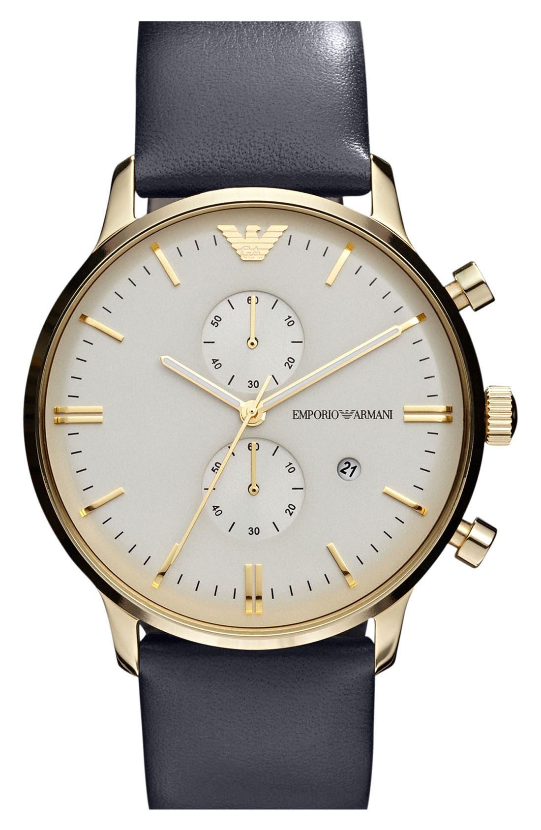 Main Image - Emporio Armani Leather Strap Watch, 43mm