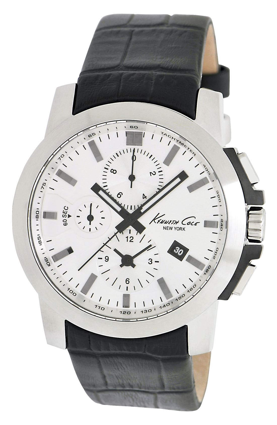 Main Image - Kenneth Cole New York Chronograph Round Dial Leather Strap Watch