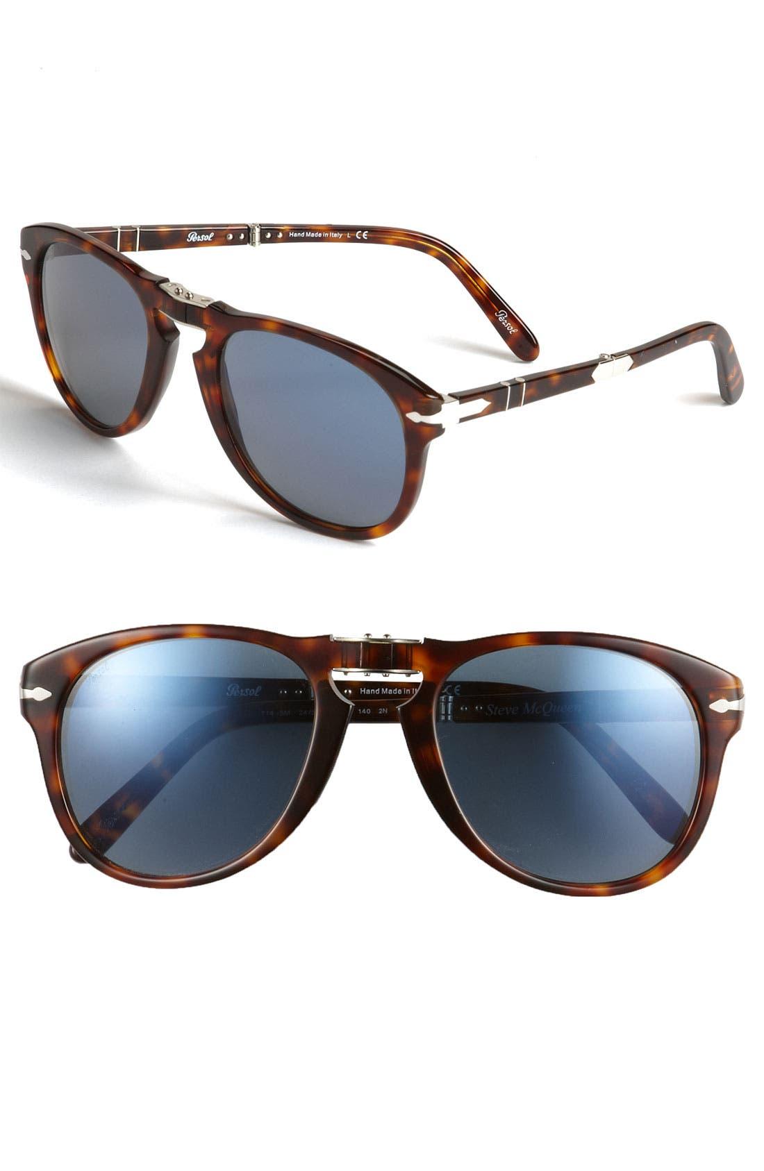 'Steve McQueen<sup>™</sup>' Folding Sunglasses,                         Main,                         color, Brown/ Blue