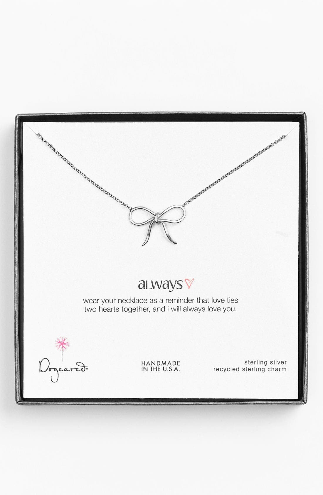Main Image - Dogeared 'Always' Bow Pendant Necklace