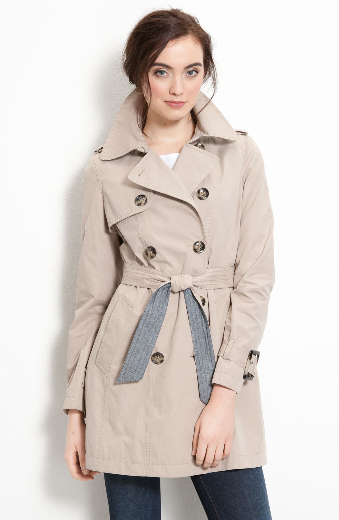 Trench Coat with Chambray Trim,                         Main,                         color, Khaki
