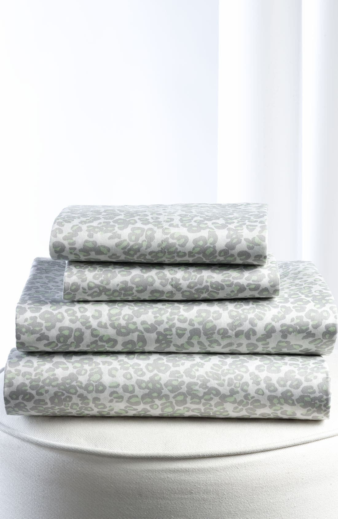 Main Image - Diane von Furstenberg 'Tiny Leopard' 300 Thread Count Flat Sheet