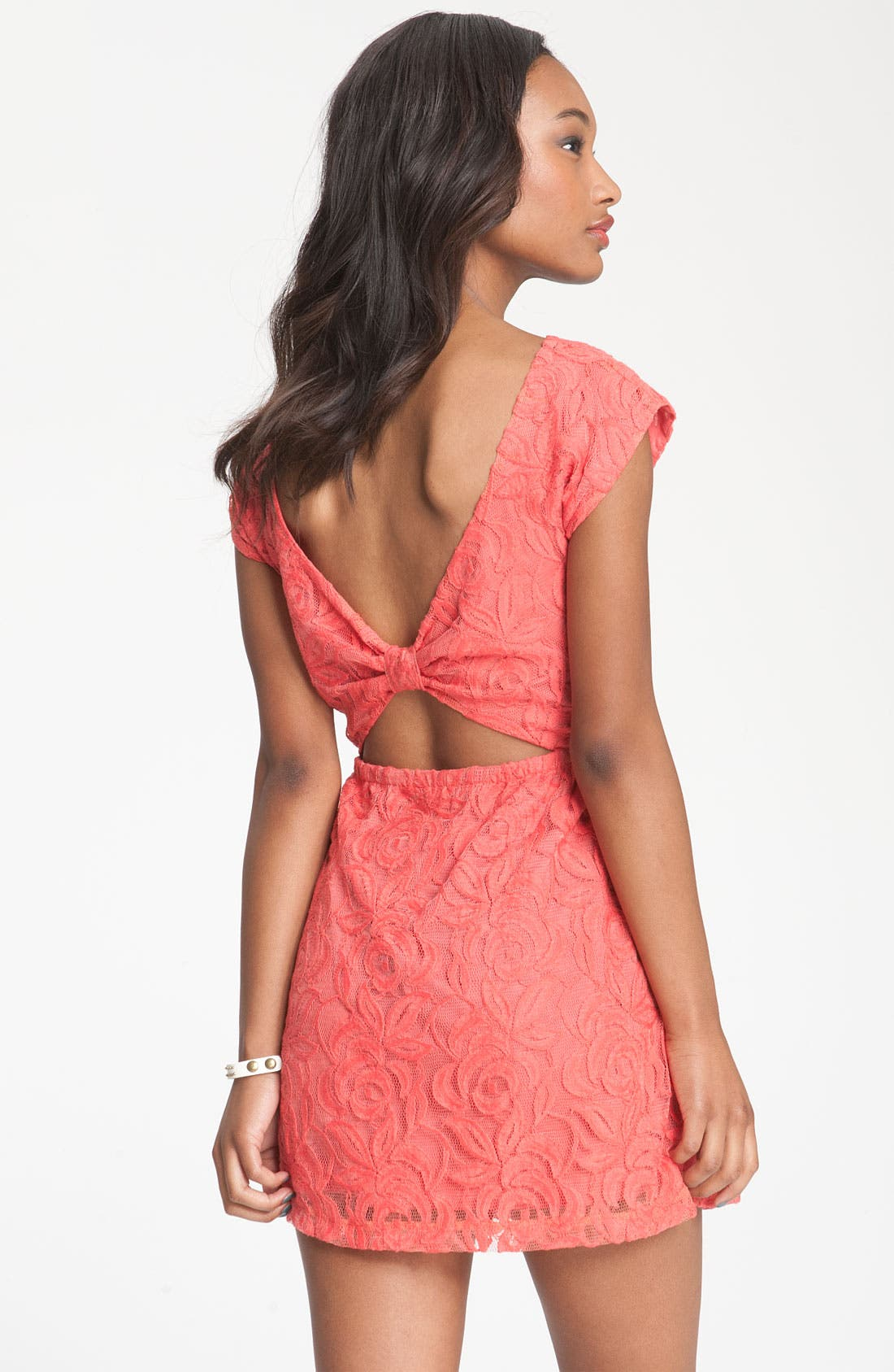 Alternate Image 2  - Fire Knotted Open Back Lace Dress (Juniors)