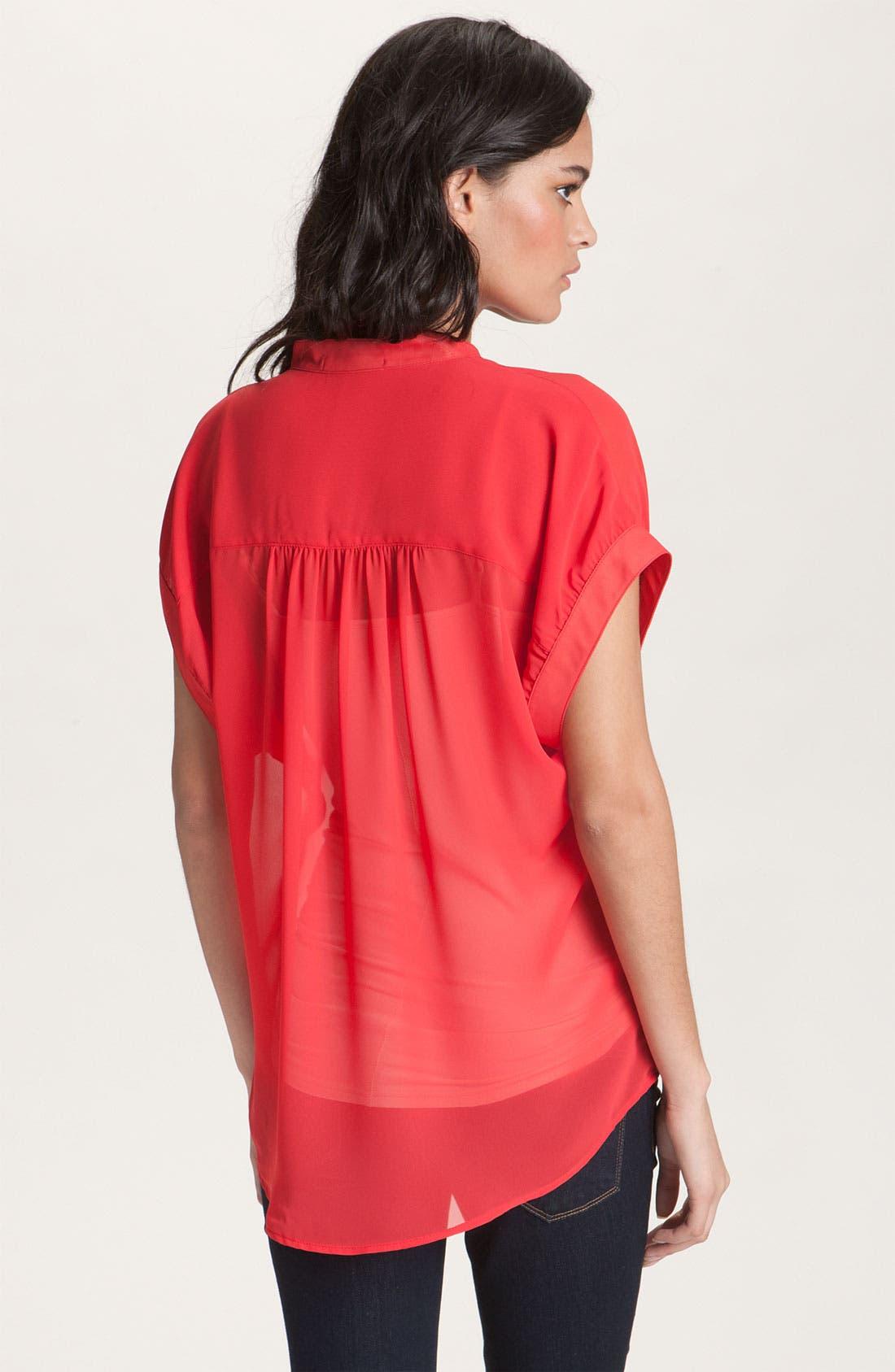 Alternate Image 2  - Red Haute Slouchy Mandarin Collar Sheer Shirt