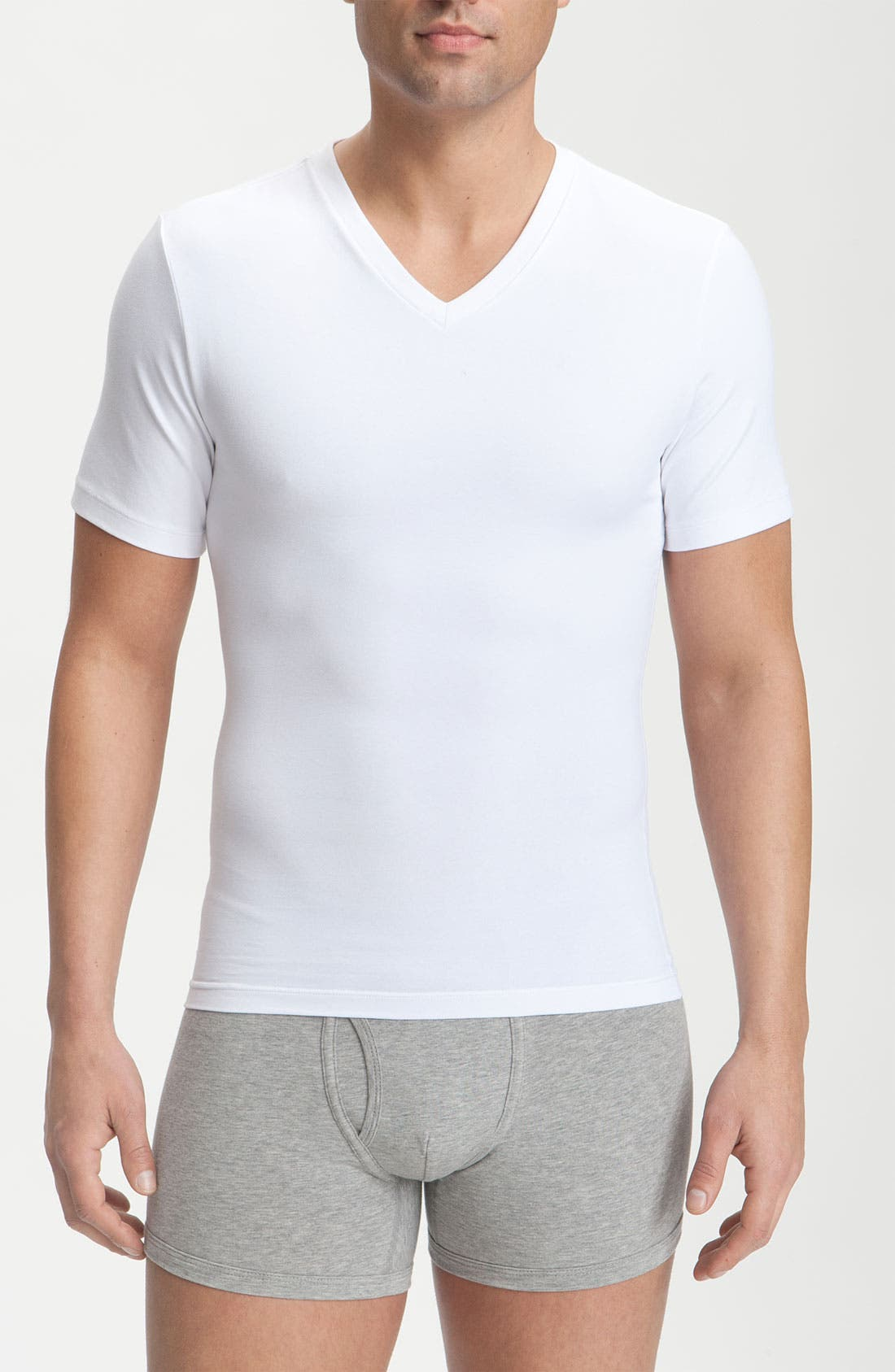 Alternate Image 1 Selected - SPANX® Cotton Control V-Neck T-Shirt