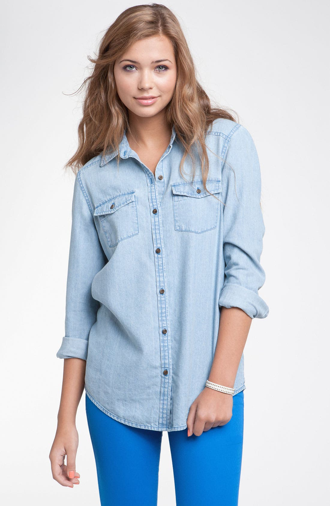 Alternate Image 1 Selected - Rubbish® Chambray Shirt (Juniors)