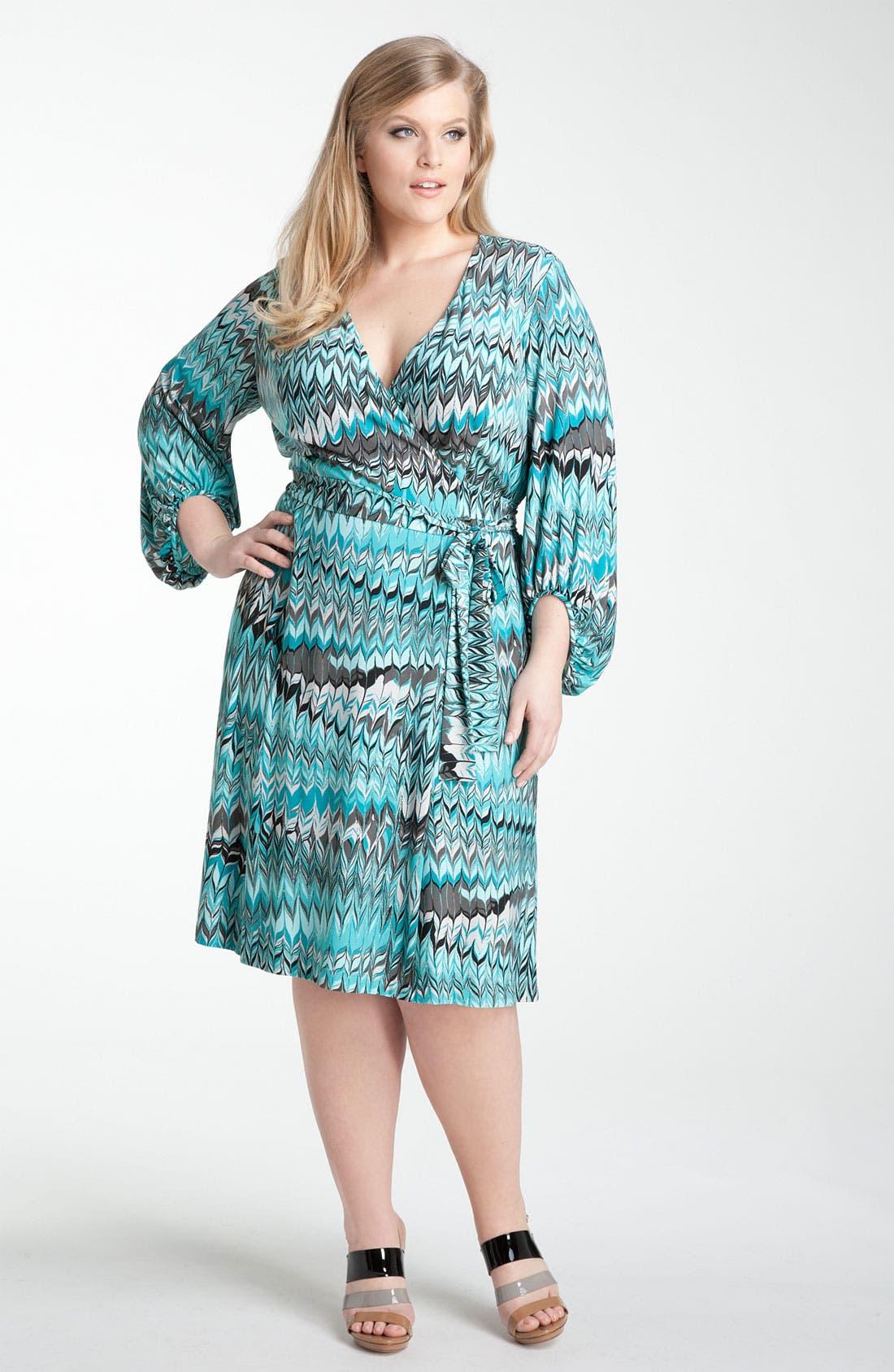 Main Image - Donna Ricco Print Jersey Faux Wrap Dress (Plus)