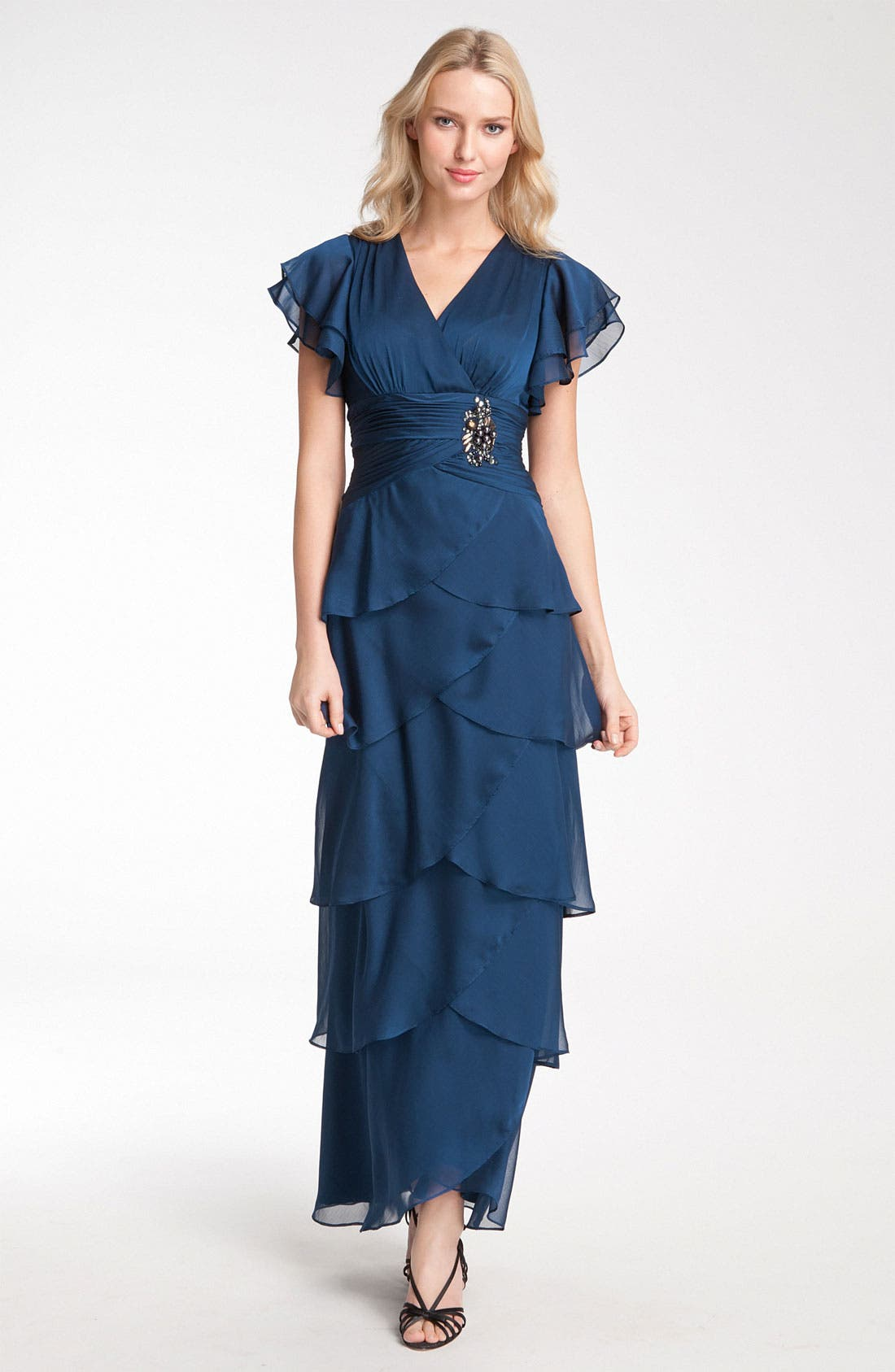 Main Image - Adrianna Papell Flutter Sleeve Tiered Chiffon Gown