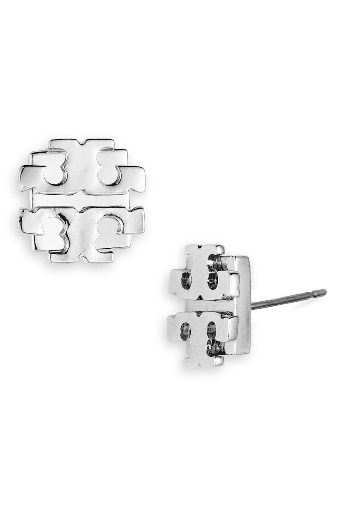 Alternate Image 1 Selected - Tory Burch Large Logo Stud Earrings