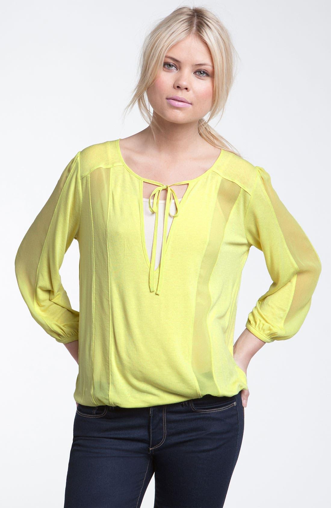Main Image - Hinge® Silk Chiffon Trim Tie Neck Blouse
