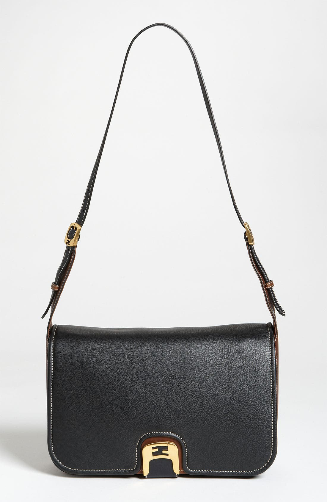 'Chameleon' Leather Shoulder Bag,                         Main,                         color, Black/ Brown