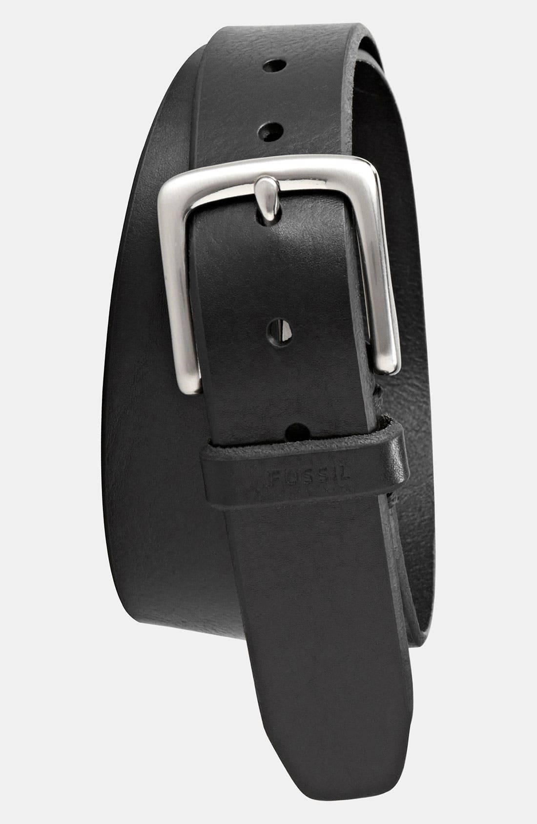 'Joe' Leather Belt,                             Main thumbnail 1, color,                             Black