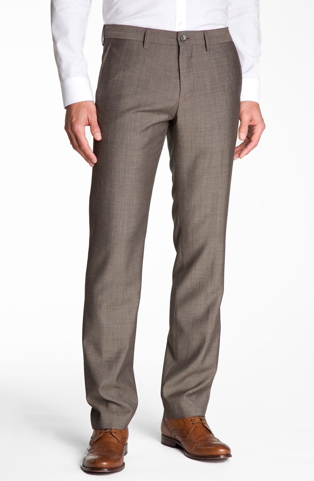 Alternate Image 1 Selected - BOSS Black 'Crigan' Patterned Flat Front Wool Trousers