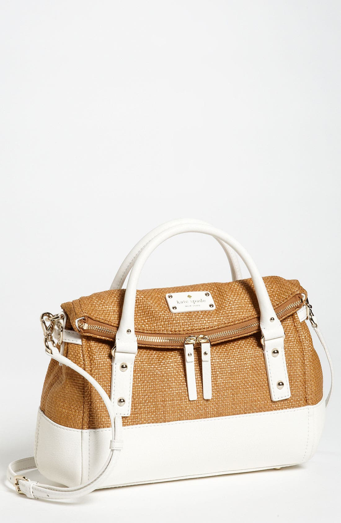 Alternate Image 1 Selected - kate spade new york 'leslie - small' straw satchel