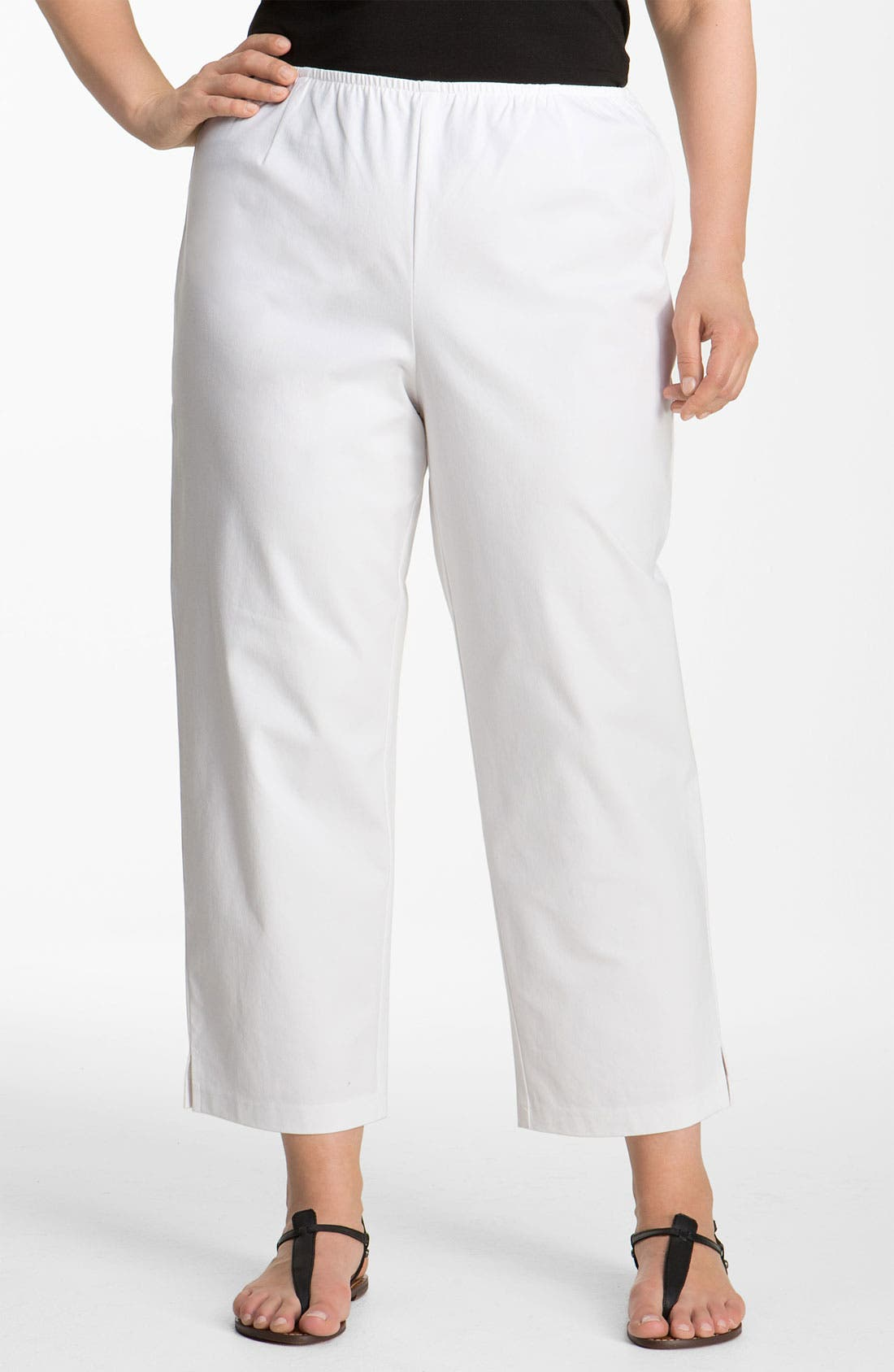 Stretch Organic Cotton Ankle Pants,                             Main thumbnail 1, color,                             White
