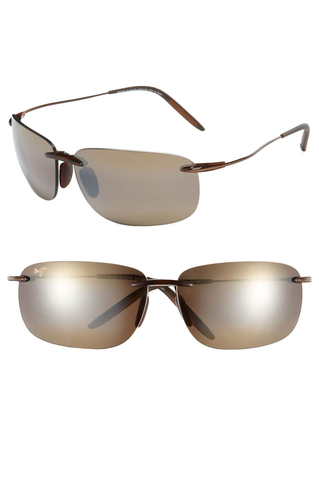 Olowalu 65mm PolarizedPlus2<sup>®</sup> Rimless Sunglasses,                             Main thumbnail 1, color,                             Rootbeer Copper/ Bronze