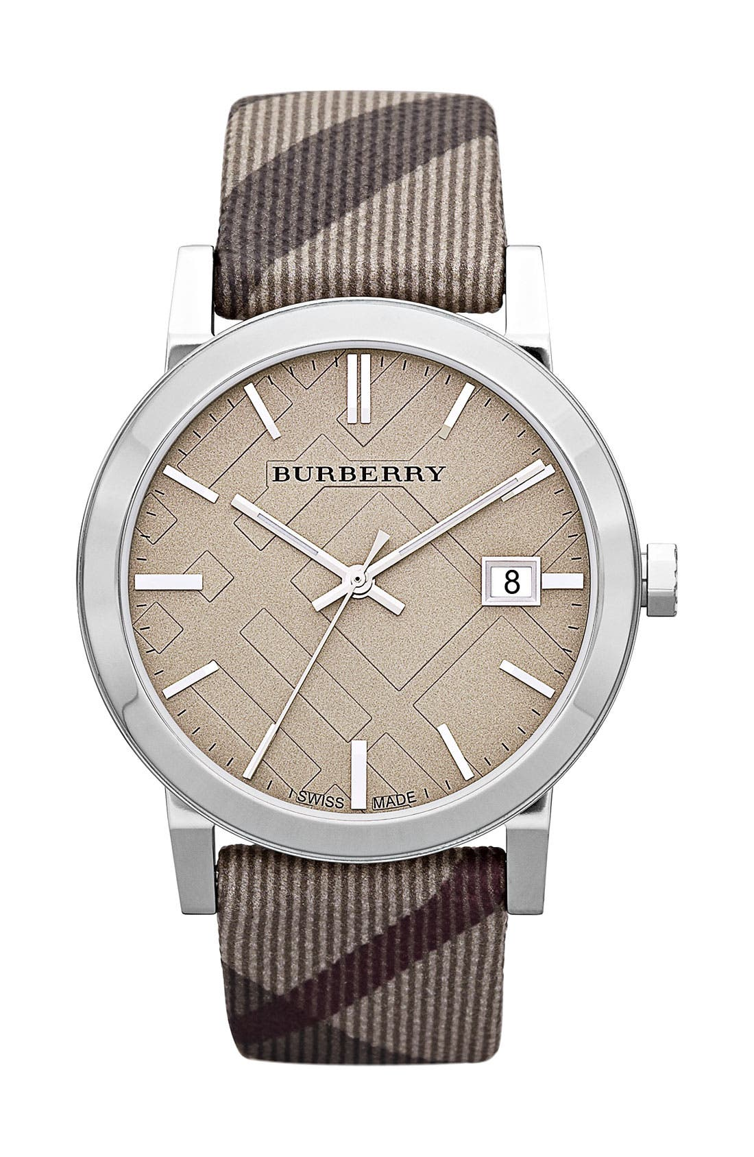 Main Image - Burberry Large Check Strap Watch, 38mm