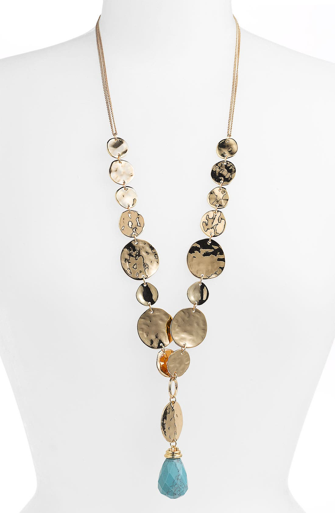 Alternate Image 1 Selected - Sequin 'Montenegro' Metal & Stone Long Pendant Necklace