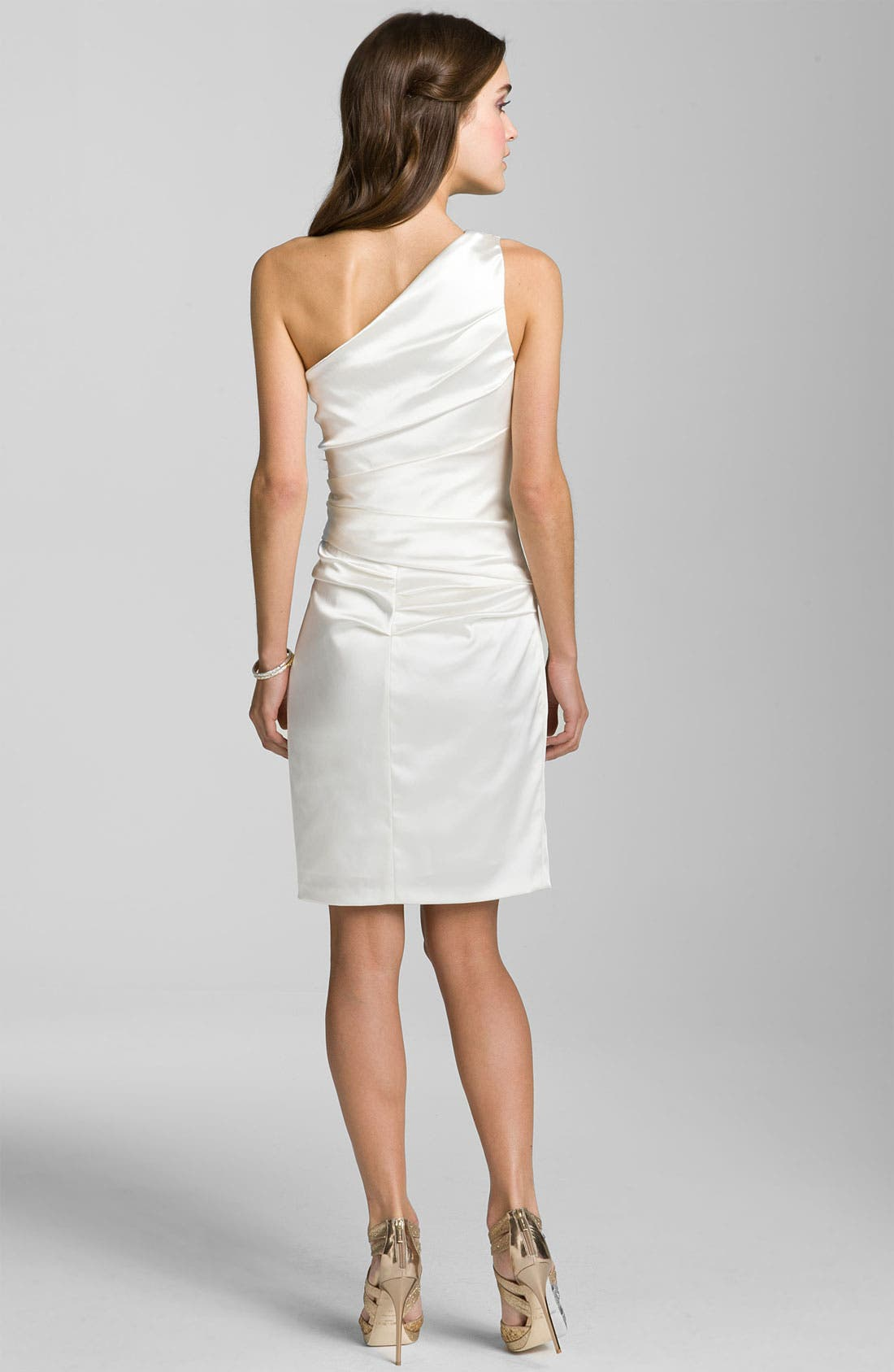 Alternate Image 2  - Suzi Chin for Maggy Boutique One Shoulder Ruched Satin Sheath Dress