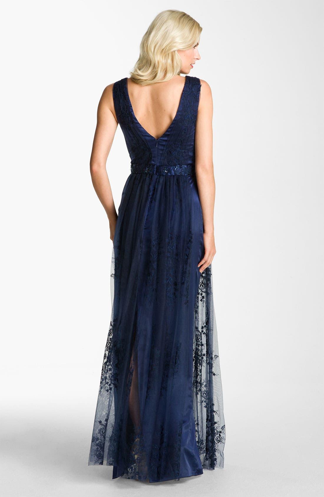 Alternate Image 2  - Kathy Hilton V-Back Lace Overlay Gown