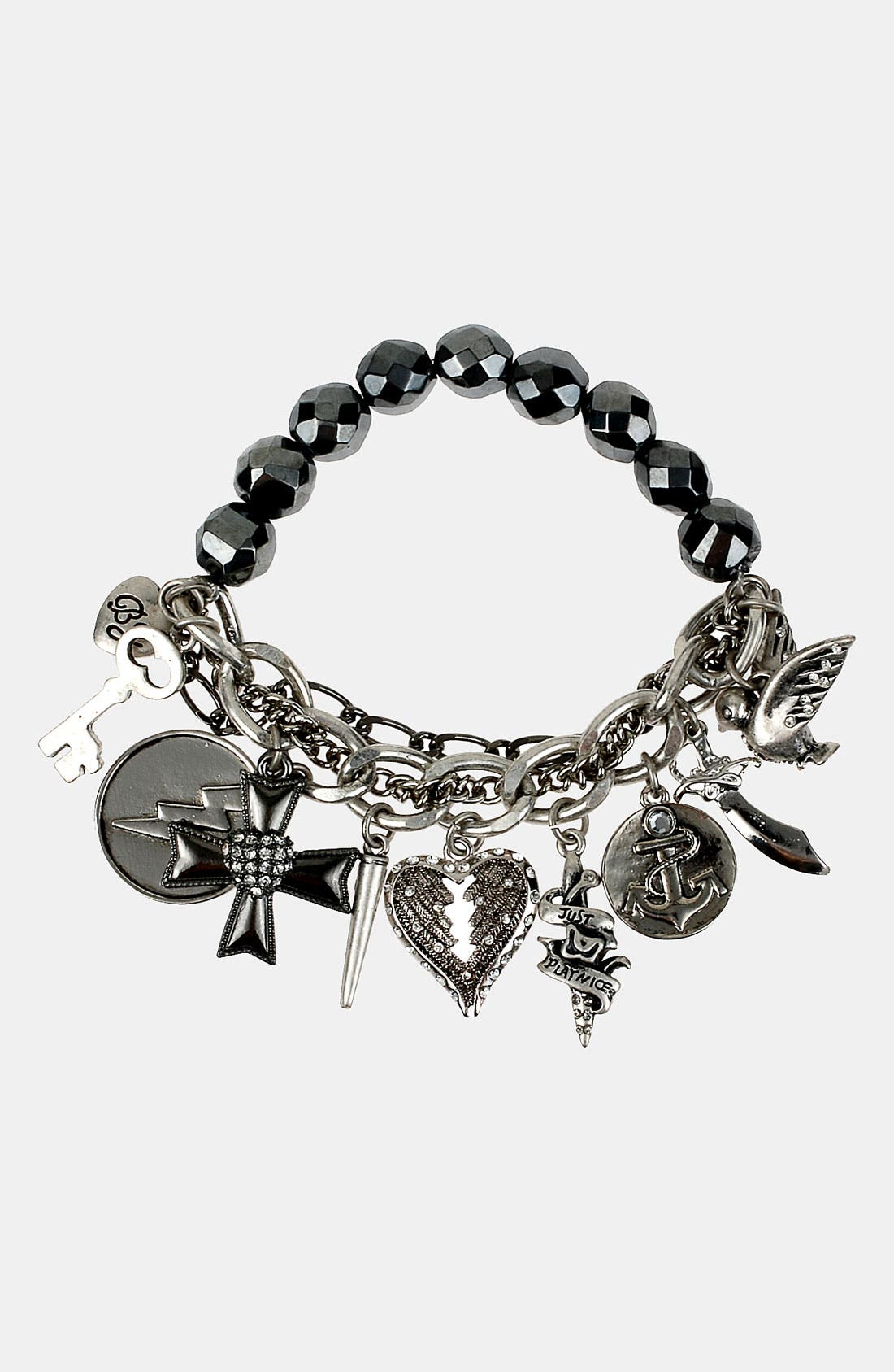 Alternate Image 1 Selected - Betsey Johnson 'Black Label' Stretch Charm Bracelet