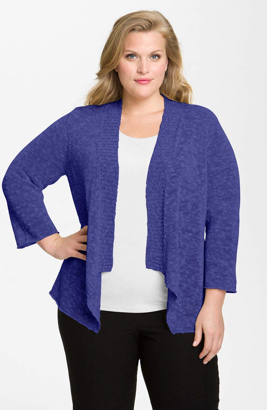 Alternate Image 1 Selected - Eileen Fisher Shaped Linen Blend Cardigan (Plus)