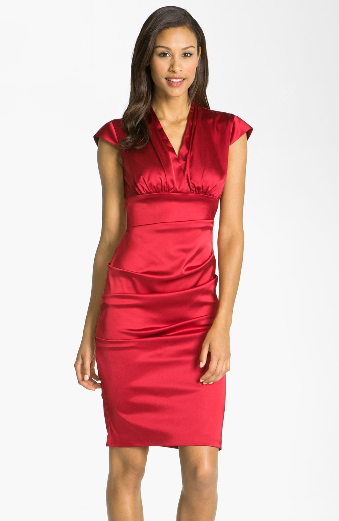 Main Image - Xscape Pleated Stretch Satin Sheath Dress
