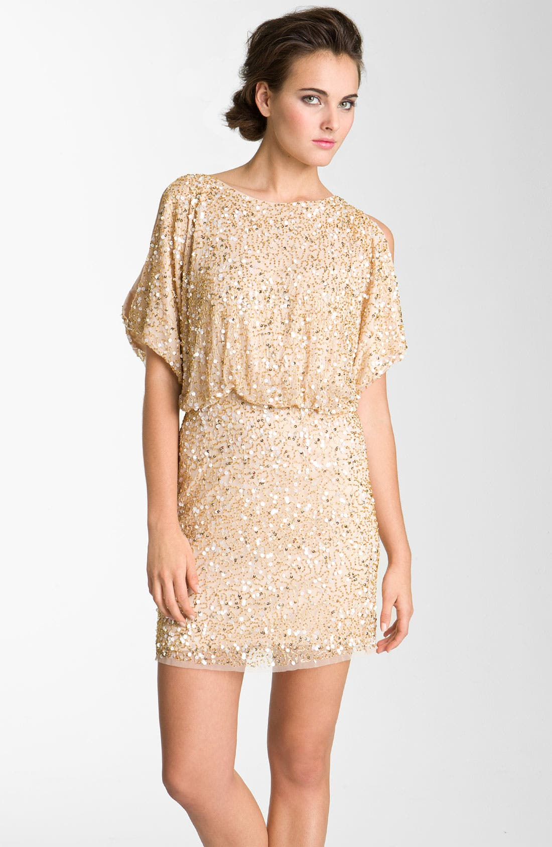 Main Image - Aidan Mattox Bloused Sequin Cold Shoulder Dress
